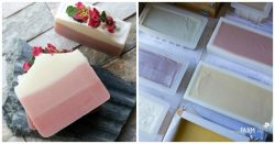 on left side is handmade soap naturally colored with rose clay; photo on right is freshly poured soaps in soap molds