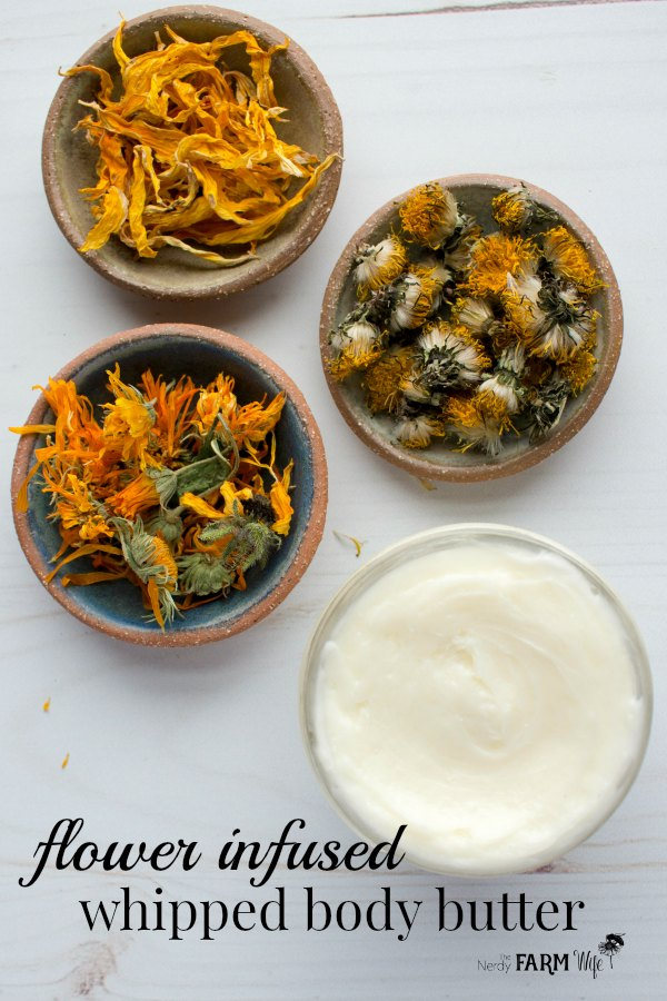 This nourishing whipped body butter recipe is perfect for softening and soothing dry skin! It features a trio of herbal flowers: dandelions, sunflowers, and calendula, that help repair and condition your skin.