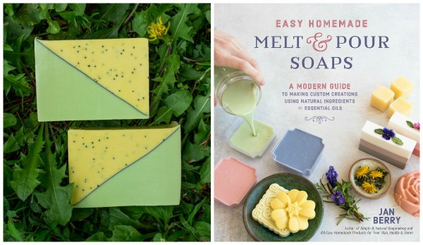 a dandelion soap and book cover that says Easy Homemade Melt and Pour Soaps