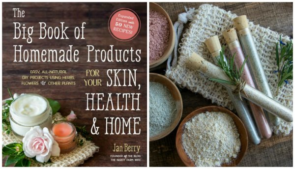 """book cover that says """"The Big Book of Homemade Products for Your Skin, Health & Home by Jan Berry"""" beside a photo of different colored cleansing grains in mini wooden bowls and clear glass tubes"""