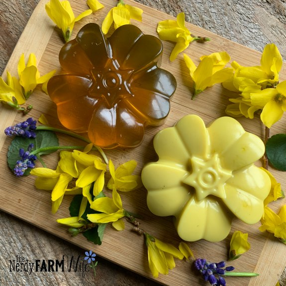 flower shaped soaps and forsythia