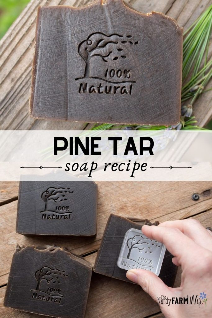 bars of pine tar soap with 100% natural stamp on them