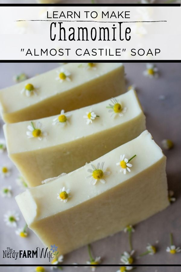 bars of soap with chamomile flowers sprinkled on top