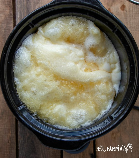 liquid soap in crockpot after 30 minutes of cooking, it's puffed up and has glycerin streaks in it