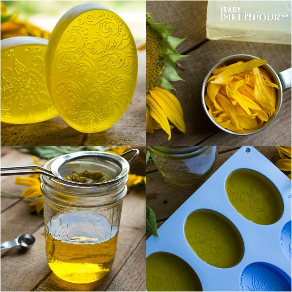 bars of decorative soap, sunflower petals, jar of melted soap and strainer, oval soap molds