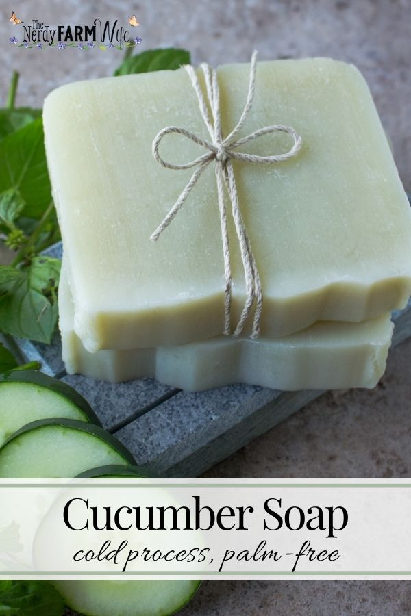 bars of cucumber soap on a soapstone soap dish