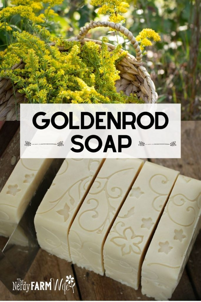 fresh goldenrod and bars of decorative goldenrod soap being cut
