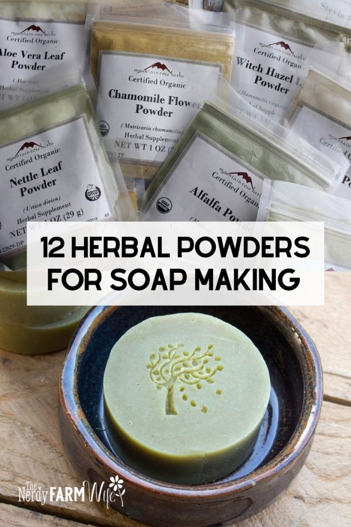 packets of herb powders and round bar of soap in pottery dish
