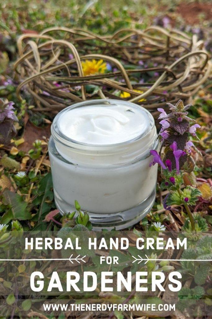 "jar of hand cream, text says ""Herbal Hand Cream for Gardeners"""