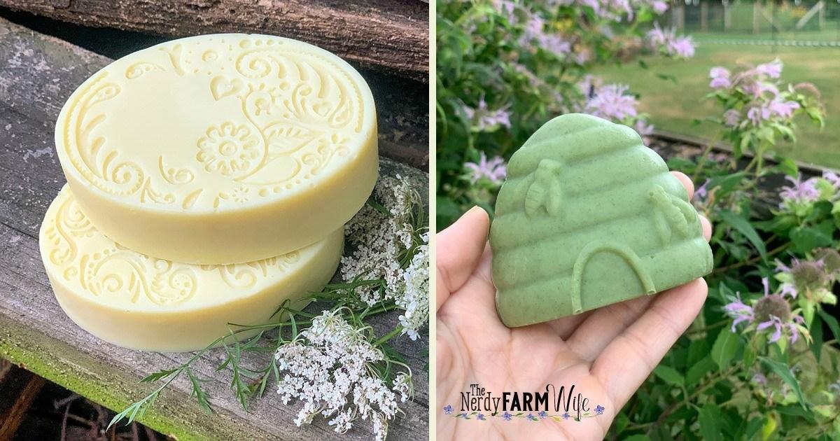 row of herbal soaps