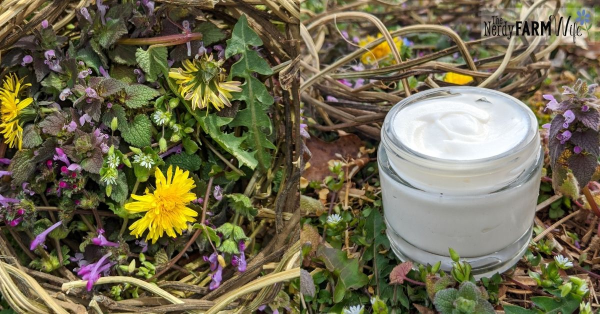 basket of garden weeds and glass jar of hand cream