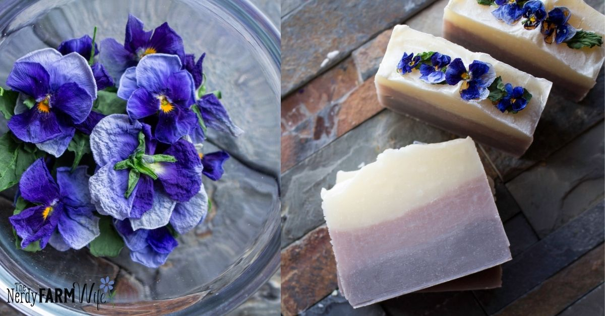 bowl of dried pansies and bars of soap