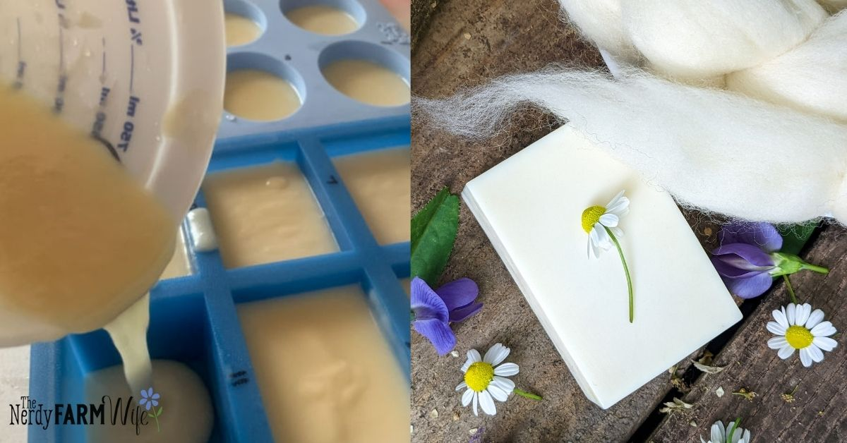 soap being poured into molds, finished soap with unspun fiber and fresh flowers
