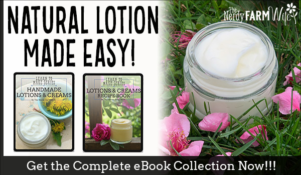 jar of lotion in grass surrounded by flower petals, plus thumbnails of lotion making ebooks