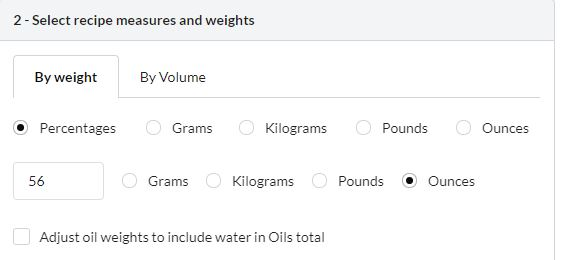 screenshot of soapee calculator, showing 56 ounces of oil