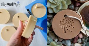 hand pushing a straw through soap; round bar of soap on a rope with stamped tree design