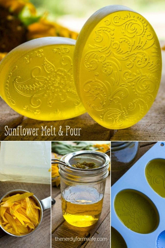 oval bars of sunflower infused soap, sunflower petals, and melted sunflower soap