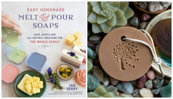 Melt and pour soap book and round soap on a rope