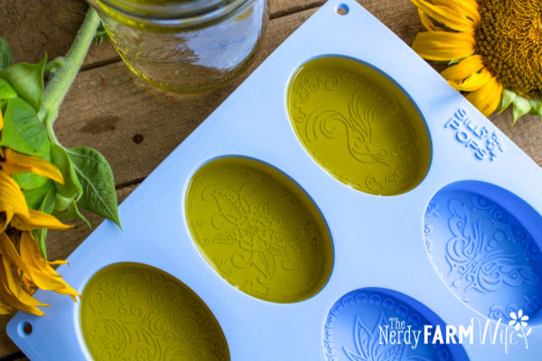 melted infused soap base poured into oval soap molds