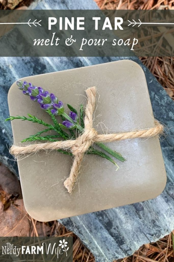 bar of melt and pour pine tar soap on soapstone soap dish and bed of dried pine needles