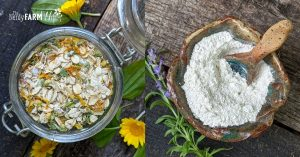 glass jar filled with bath soak made of oats, powdered milk, and dried calendula, and rustic bowl filled with white clay