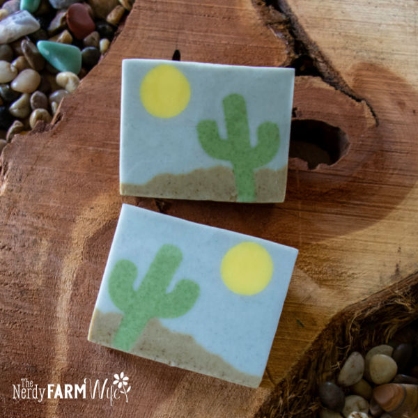 melt and pour cactus soap using natural colorants and ingredients