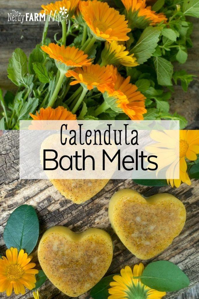 heart shaped bath melts with fresh calendula