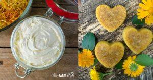 jar of calendula body butter and heart shaped calendula bath melts
