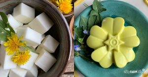 bowl of melt and pour soap base with fresh dandelions beside flower shaped soap