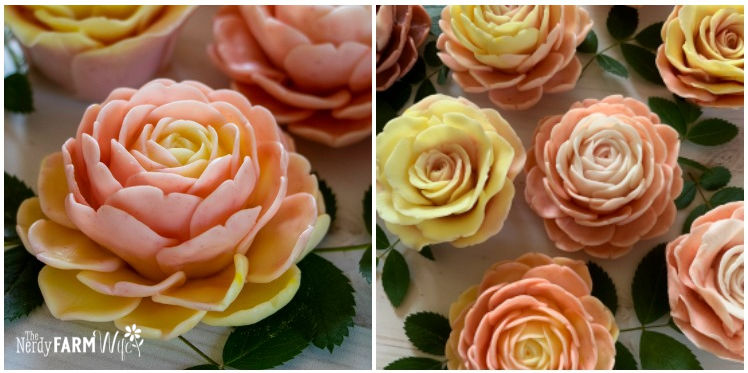 3D flower shaped melt and pour soaps