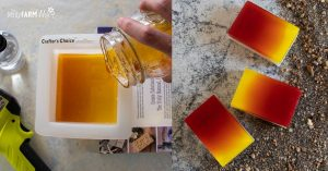 woman's hand pouring melt and pour soap into a mold, multi colored bars of soap on sandy background