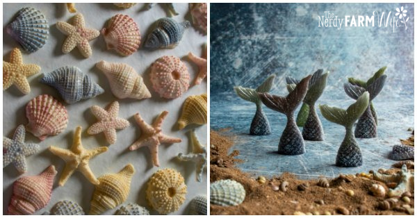 shell shaped soaps and mermaid tail shaped soaps