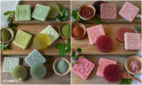 round and square bars of soap in green and pink colors