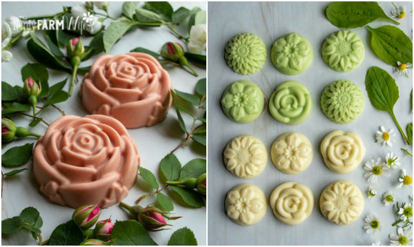 rose shaped soaps and mini flower shaped soaps