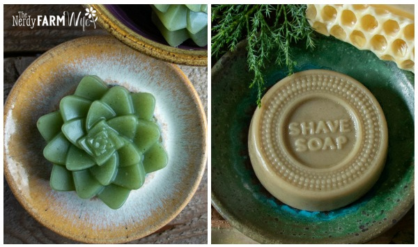"""succulent shaped soap and a round soap that says """"shave soap"""""""