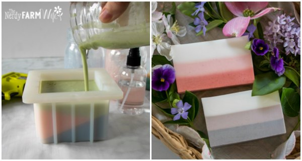 hand pouring jar of melted soap into a mold, bars of soap made up of three layers
