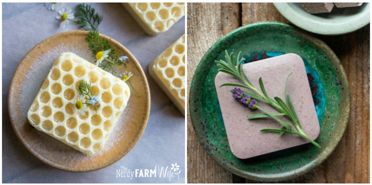 square soap with honeycomb textured top, square of clay soap with fresh lavender sprig